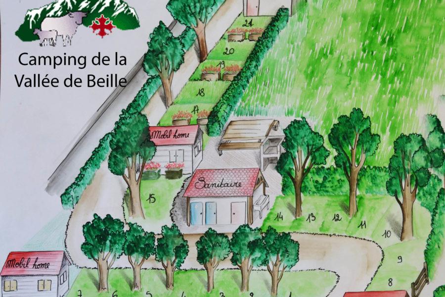 Plan du camping de la vallée de beille Ariège